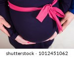 Pregnant Belly In Blue Dress ...
