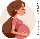 pregnant woman feeling baby... | Shutterstock .eps vector #1012451662