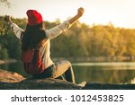 female tourists in beautiful... | Shutterstock . vector #1012453825