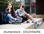 phubbing  portrait of teenager... | Shutterstock . vector #1012456696