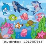 sea animals  cute vector | Shutterstock .eps vector #1012457965