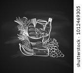 sketch illustration of foods... | Shutterstock .eps vector #1012469305