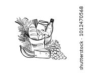 sketch illustration of foods... | Shutterstock .eps vector #1012470568