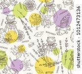 seamless pattern with bottles... | Shutterstock .eps vector #1012473136