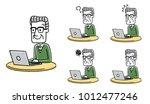 senior male  internet  personal ... | Shutterstock .eps vector #1012477246