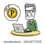 senior male  internet  points | Shutterstock .eps vector #1012477255
