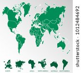 world map. set of color pointers | Shutterstock .eps vector #1012484692