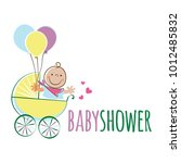 cute baby in the stroller with... | Shutterstock .eps vector #1012485832
