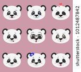 set of cute panda bear face... | Shutterstock . vector #1012487842