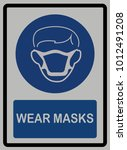 wear mask sign on white... | Shutterstock .eps vector #1012491208