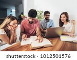 group of students study at home....   Shutterstock . vector #1012501576