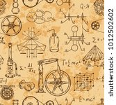 seamless pattern with vintage... | Shutterstock .eps vector #1012502602