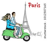 couple driving scooter in paris.... | Shutterstock . vector #1012507165