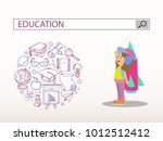 little girl with rocket and... | Shutterstock .eps vector #1012512412