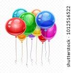 birthday balloons soaring in... | Shutterstock .eps vector #1012516522