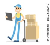delivery man with parcels on... | Shutterstock .eps vector #1012520242