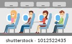 people in airplane sitting.... | Shutterstock .eps vector #1012522435