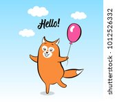 greeting card smiling animal... | Shutterstock . vector #1012526332