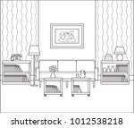 living room interior sketch.... | Shutterstock .eps vector #1012538218