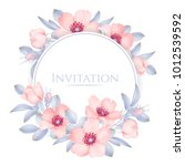 Stock vector wedding invitation with wild rose flowers 1012539592