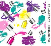 nail polish and splashes with...   Shutterstock .eps vector #1012549438
