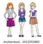 happy cute young adult girls... | Shutterstock .eps vector #1012552882