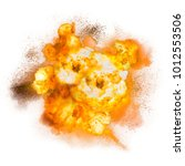 realistic fiery explosion with... | Shutterstock . vector #1012553506