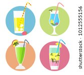 set of cocktails icons flat... | Shutterstock .eps vector #1012555156
