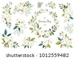 set of floral branch  wreath.... | Shutterstock .eps vector #1012559482