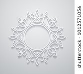 white decorative frame with... | Shutterstock . vector #1012571056
