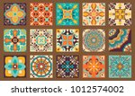 collection of 15 colorful tile... | Shutterstock .eps vector #1012574002