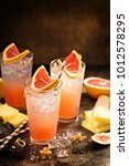 grapefruit and pineapple... | Shutterstock . vector #1012578295