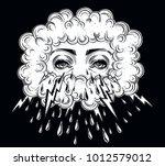 cryaing mystic eyes in noir... | Shutterstock .eps vector #1012579012