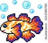 vector pixel art fish colorful... | Shutterstock .eps vector #1012580785