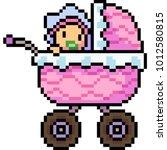 vector pixel art baby stroller... | Shutterstock .eps vector #1012580815