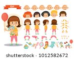 girl kid playing toys vector... | Shutterstock .eps vector #1012582672