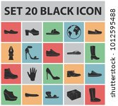 a variety of shoes black icons... | Shutterstock . vector #1012595488