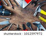 different construction tools... | Shutterstock . vector #1012597972