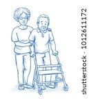 happy smiling female carer or... | Shutterstock .eps vector #1012611172
