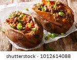homemade baked sweet potato... | Shutterstock . vector #1012614088