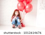 smiling kid girl 4 5 year old... | Shutterstock . vector #1012614676