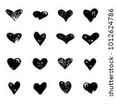 hearts icons hand drawn set...   Shutterstock .eps vector #1012624786