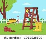 spring garden with gardening... | Shutterstock .eps vector #1012625902
