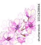 ink  pencil  watercolor... | Shutterstock .eps vector #1012628866