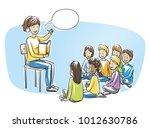 happy woman  teacher  nurse or...   Shutterstock .eps vector #1012630786