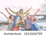 group of happy friends taking a ...   Shutterstock . vector #1012636705