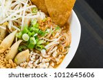close up of tom yum noodle soup ... | Shutterstock . vector #1012645606