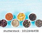 various dried medicinal herbs... | Shutterstock . vector #1012646458