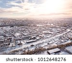 aerial view of snow covered... | Shutterstock . vector #1012648276