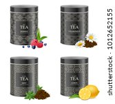 realistic black tea tin boxes 4 ... | Shutterstock .eps vector #1012652155